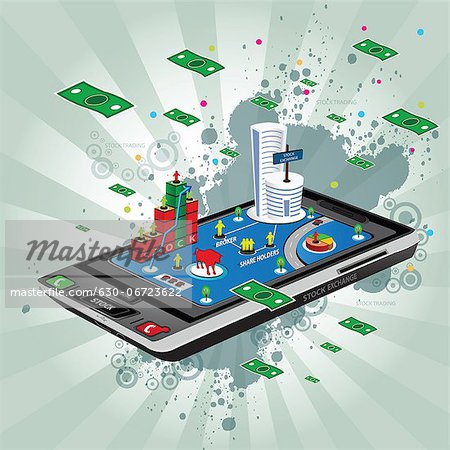 Illustrative representation showing the use of a mobile phone in stock trading Stock Photo - Premium Royalty-Free, Image code: 630-06723622