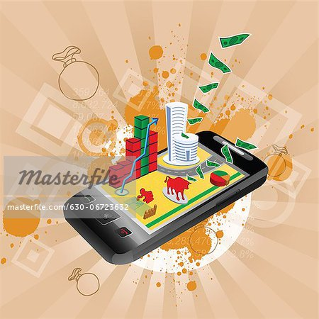 Illustrative representation showing the use of a mobile phone in stock trading Stock Photo - Premium Royalty-Free, Image code: 630-06723632