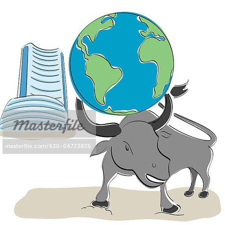 Globe on bull's head with Bombay stock exchange building in the background Stock Photo - Premium Royalty-Free, Image code: 630-06723825