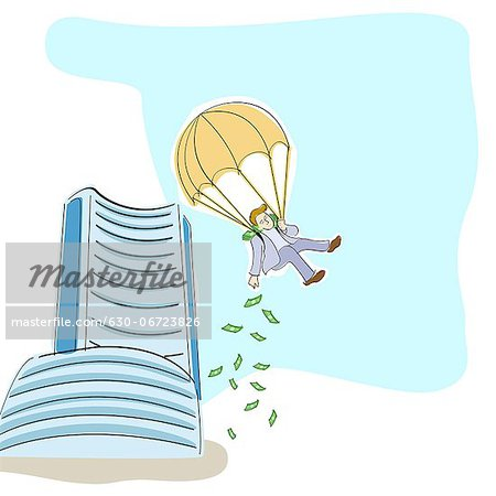 Businessman dropping money from a parachute Stock Photo - Premium Royalty-Free, Image code: 630-06723826