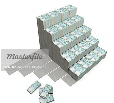 Steps made from hundred rupee Indian currency notes Stock Photo - Premium Royalty-Free, Image code: 630-06723900