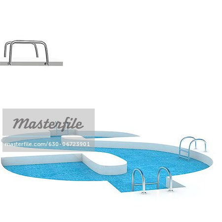 Dollar shaped swimming pool Stock Photo - Premium Royalty-Free, Image code: 630-06723901