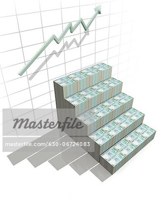 Indian currency note steps with graphs Stock Photo - Premium Royalty-Free, Image code: 630-06724083