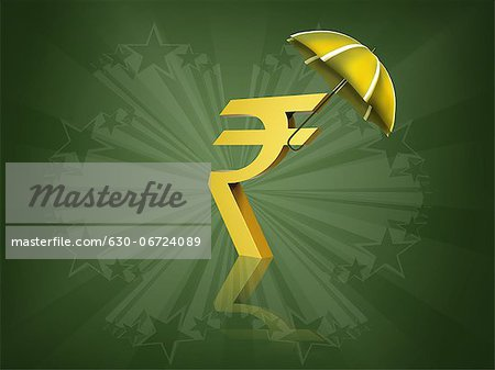 Indian rupee symbol covered by an umbrella Stock Photo - Premium Royalty-Free, Image code: 630-06724089