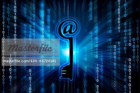 Network security key on binary digits Stock Photo - Premium Royalty-Free, Image code: 630-06724141