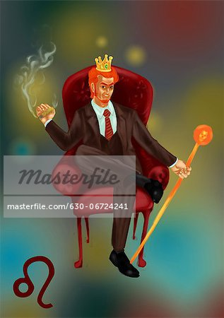 Illustrative representation showing characteristic of a Leo businessman Stock Photo - Premium Royalty-Free, Image code: 630-06724241