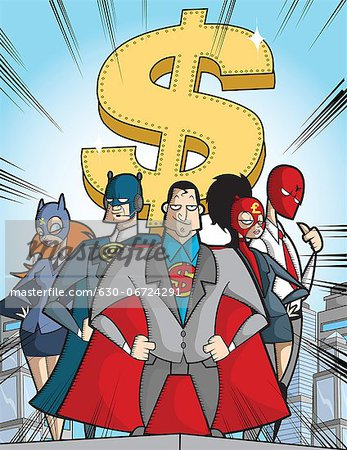 Business super hero with dollar sign Stock Photo - Premium Royalty-Free, Image code: 630-06724291