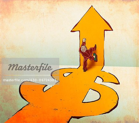 Businessman walking on dollar and arrow signs Stock Photo - Premium Royalty-Free, Image code: 630-06724301