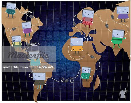 Illustrative representation of global networking Stock Photo - Premium Royalty-Free, Image code: 630-06724349