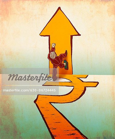 Businessman walking on rupee and arrow signs Stock Photo - Premium Royalty-Free, Image code: 630-06724445