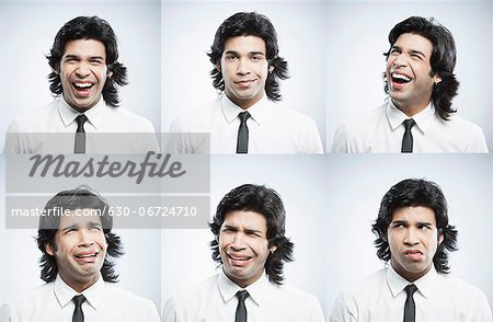 Multiple images of a businessman with different facial expressions Stock Photo - Premium Royalty-Free, Image code: 630-06724710