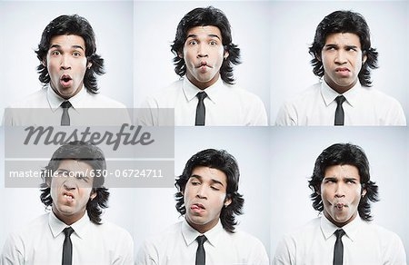 Multiple images of a businessman with funny facial expressions Stock Photo - Premium Royalty-Free, Image code: 630-06724711