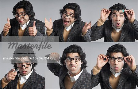 Multiple images of a businessman with different facial expressions Stock Photo - Premium Royalty-Free, Image code: 630-06724755