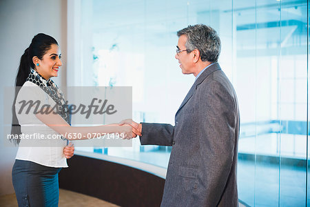 Businessman shaking hands with a businesswoman Stock Photo - Premium Royalty-Free, Image code: 630-07071499