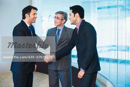 Businessman introducing his colleague to another businessman Stock Photo - Premium Royalty-Free, Image code: 630-07071502