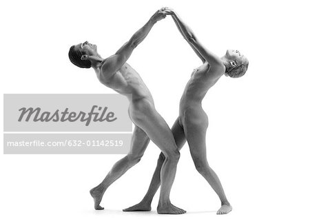 Nude man and woman dancing, side view, b&w Stock Photo - Premium Royalty-Free, Image code: 632-01142519