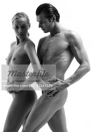 Nude man and woman dancing, b&w Stock Photo - Premium Royalty-Free, Image code: 632-01142539