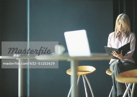 Businesswoman working alone in cafe setting Stock Photo - Premium Royalty-Free, Image code: 632-01152629