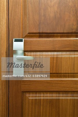 Hotel room door with electronic door lock, full frame Stock Photo - Premium Royalty-Free, Image code: 632-03897929