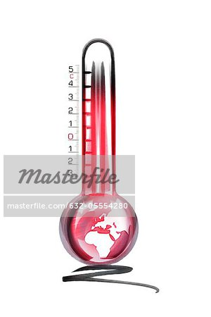 Overheated earth in thermometer Stock Photo - Premium Royalty-Free, Image code: 632-05554280