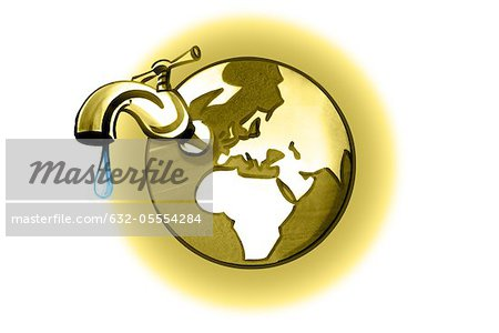 Earth with dripping faucet Stock Photo - Premium Royalty-Free, Image code: 632-05554284