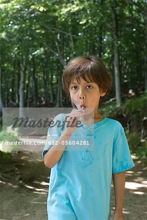 Young boy eating lollipop, portrait Stock Photo - Premium Royalty-Free, Image code: 632-05604281
