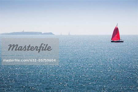 Sailboat off the coast of Belle-Ile-en-Mer, Morbihan, Brittany, France Stock Photo - Premium Royalty-Free, Image code: 632-05759604