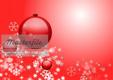 Christmas ornaments and snowflakes on red background Stock Photo - Premium Royalty-Free, Image code: 632-05817161