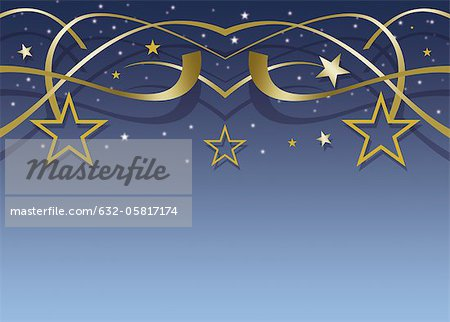 Festive stars and streamers on blue background Stock Photo - Premium Royalty-Free, Image code: 632-05817174