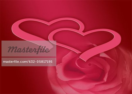 Hearts and rose on red background Stock Photo - Premium Royalty-Free, Image code: 632-05817195