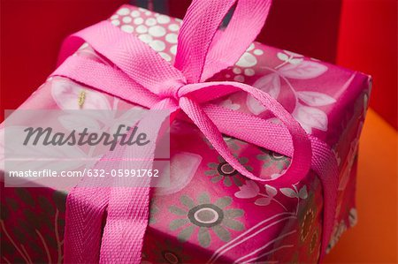 Festively wrapped gift Stock Photo - Premium Royalty-Free, Image code: 632-05991762