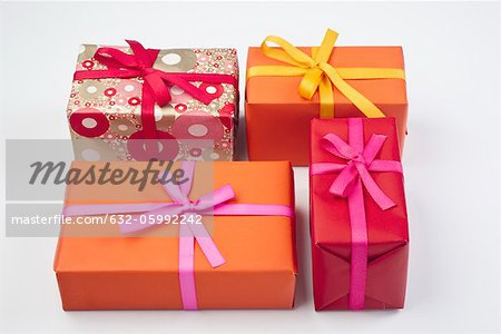 Festively wrapped gifts Stock Photo - Premium Royalty-Free, Image code: 632-05992242