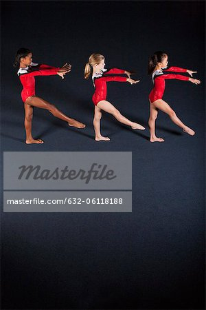 Young girl gymnasts practicing Stock Photo - Premium Royalty-Free, Image code: 632-06118188