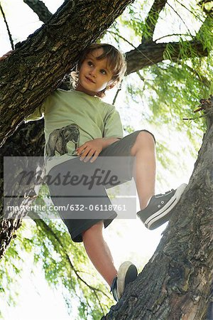 Boy standing in tree, low angle view Stock Photo - Premium Royalty-Free, Image code: 632-06118761