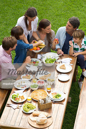 Family and friends gather for weekend picnic Stock Photo - Premium Royalty-Free, Image code: 632-08001659