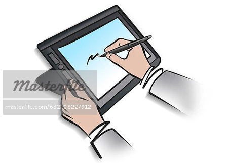 Illustration of person using digital tablet and stylus Stock Photo - Premium Royalty-Free, Image code: 632-08227912