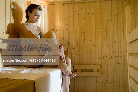 Woman in sauna Stock Photo - Premium Royalty-Free, Image code: 633-03444493