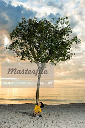 Boy sitting beneath tree on beach Stock Photo - Premium Royalty-Free, Image code: 633-03445009