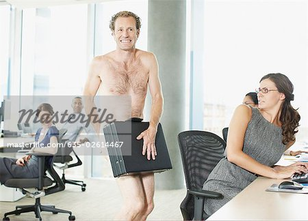 Naked businessman with briefcase in office Stock Photo - Premium Royalty-Free, Image code: 635-02614467