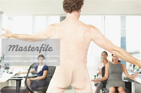 Naked businessman in office Stock Photo - Premium Royalty-Free, Image code: 635-02614469