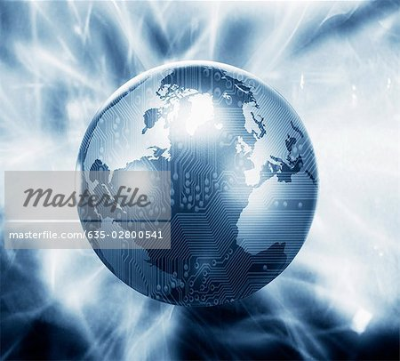 Glowing globe with microchip overlay Stock Photo - Premium Royalty-Free, Image code: 635-02800541