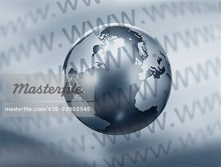 Montage of globe and www text Stock Photo - Premium Royalty-Free, Image code: 635-02800545