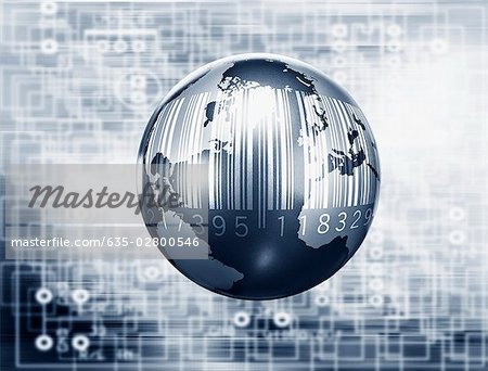 Montage of globe, microchip and bar code Stock Photo - Premium Royalty-Free, Image code: 635-02800546