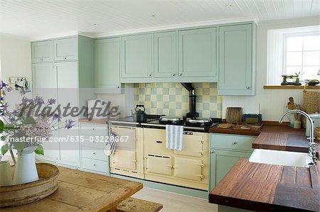 Country Kitchen Showcase Interior Stock Photo