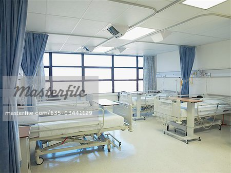Empty hospital room with beds