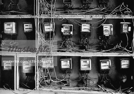 Close up of wires and old-fashioned meters Stock Photo - Premium Royalty-Free, Image code: 635-03457727