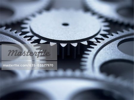 Close up of metal cogs Stock Photo - Premium Royalty-Free, Image code: 635-03577970