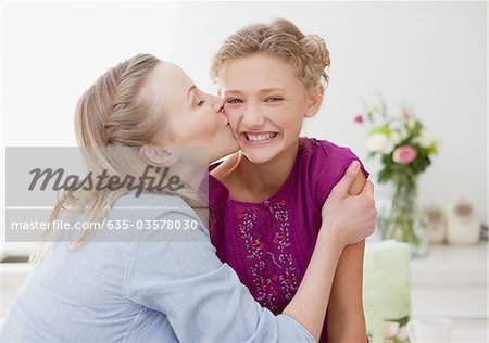 Mother kissing smiling daughter in kitchen Stock Photo - Premium Royalty-Free, Image code: 635-03578030