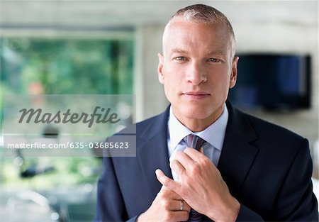 Businessman adjusting necktie Stock Photo - Premium Royalty-Free, Image code: 635-03685623