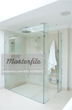 Interior of glass-walled shower stall Stock Photo - Premium Royalty-Free, Image code: 635-03781651
